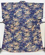 @Japanese Vintage Kimono / silk / Women 60.8inc./ Blue 3nfuji31381