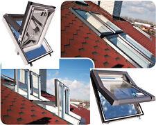 SKYFENSTER Dachfenster Kunststoff SKYLIGHT 78x118 + Eindeckrahmen Flach + ROLLO