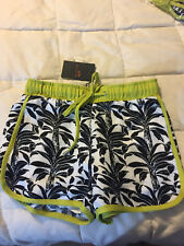 NEW J.O.A. LOS ANGELES GREEN ACCENT BLACK WHITE LEAFED SHORTS SIZE PETITE SMALL
