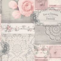 CROWN OPHELIA DECOUPAGE WALLPAPER BLUSH M1426 - COLLAGE FEATURE WALL PINK NEW