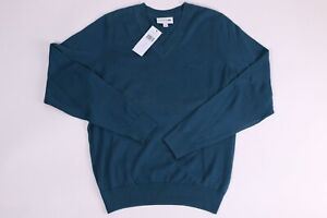 LACOSTE Mens Sweater V Neck AH7894-00-GH7 Blue 100% Cotton NEW