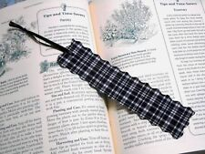 Bookmark Fabric or Cloth Handmade Black & White with Black Ribbon