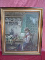 Emebellecedor, Antiguo Pintura __ Niña la Mayor Parte Mesa Cocina __ Firmado _