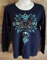 Womens Sonoma XL Pullover Navy Blue Floral Embroidered Sweater NWT NEW