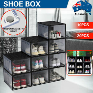 Premium Magnetic Sneaker Display Shoe Box Large Storage Case Clear Plastic Boxes