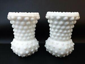 2x Vintage White Milk Glass Hobnail Toothpick Holder / Mini Vase