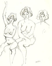 Peter Collins ARCA - Set of Five c.1970s Pen and Ink Studies of Female Nudes