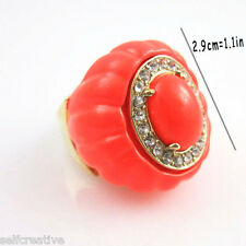 Womens Gold Alloy Metal Stone Pumpkin Harvest Fashion Lady Finger Ring Size 9 L