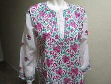 New India Chikan Lucknow 100% Cotton Women's White Dark Pink Green Ladies Top