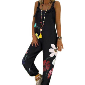 Women Boho Jumpsuit Dungarees Loose Wide Leg Pants Overall Long Playsuit Rompers