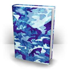 Blue Camo Print Stretch Fabric Book Sox Cover Jumbo Print Camouflage Sky Ocean