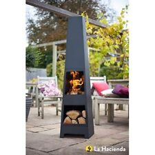 La Hacienda Malmo Steel Chimenea Chiminea and Log Store in Black BRAND NEW BOXED