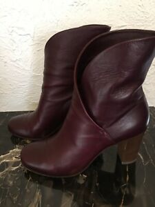 Authentic Celine Burgundy Ankle Boots Size 38.5