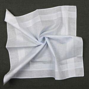 Pure Cotton Handkerchiefs white Hanky Hankie for Men