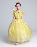 Girls Belle Costume Beauty and the Beast Princess Cosplay Fancy Dress