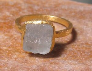 Gold plated brass everyday natural aquamarine ring UK L/US 5.75. Gift Bag.