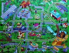 Large Town Airport Train Track Street Road Play Mat. Car Farm Kid Big Rug Home