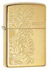 "Zippo ""Paisley Design"" High Polish Solid Brass Lighter, Full Size, 29609"