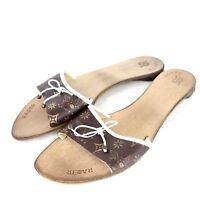 RARE Damen Sandalen Pantoletten Schuhe 40 41 Braun Beige Weiß Leder NP 109 NEU