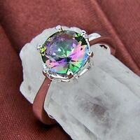 Love Rainbow Topaz .925 Solid Sterling Silver Solitaire Ring Size 7 8 9 10