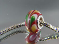 925 SILVER STAMPED RED MURANO GLASS BEADS EUROPEAN STYLE CHARM BRACELETS #DC 153