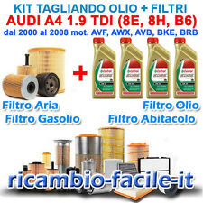 KIT TAGLIANDO AUDI A4 1.9 TDI FILTRI + OLIO CASTROL EDGE 5W30 100 115 130 CV