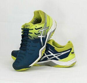 ASICS Men's Gel-Resolution Mako Blue/Neon Tennis Athletic Shoes Size 9, EUR 42.5