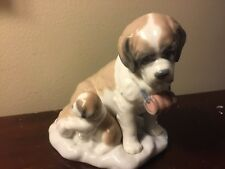 Vtg Lladro Baby Sitting #8170 St Bernard & Pup No Box Retired RARE