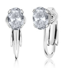 1.90 Ct Oval White Topaz 925 Sterling Silver Clip-On Earrings