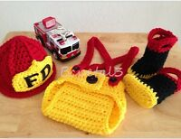 Newborn Baby Firefighter Crochet Knit Costume Photo Photography Prop Outfits
