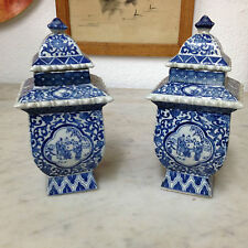 Fine pair of Chinese Kangxi mark pot & covers with blue landscape decor 19 th c