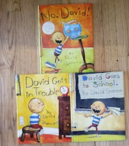 3 DAVID SHANNON BOOKS: No, David! David Goes to School & David Gets in Trouble