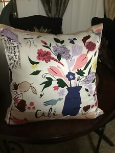 NWT Kate Spade Cafe Scene Pillow Simply Stunning Down + Feathers Silk