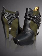 SAM EDELMAN ZOE WEDGE ANKLE MOTO BIKER MOSS GREEN BOOTIE  8 US /6 UK / 39EU