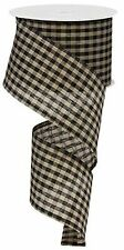 Primitive Gingham Check Wired Edge Ribbon, 10 Yards (Black, Tan, 2.5 Inches)