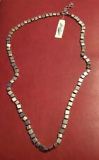 """$42 LUCKY BRAND Long Silver Tone String Squares Necklace 32-34"""" New NWT"""