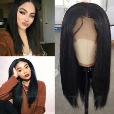 Best Yaki Straight Human Hair Deep Part Wig Brazilian Remy Lace Glueless Hair 1B