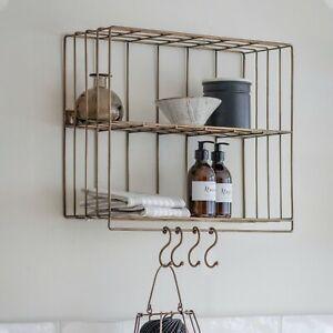 Antique Brass Brompton Wire Rack with 4 Hooks, 2 Shelf Storage Display Unit