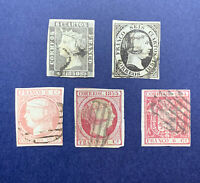1850-1854 SPAIN STAMP LOT. RARE QUEEN IMPERF COLLECTION