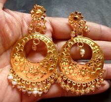 Antique Gold Plated Indian Chand Bali Jhumka Dangler White Bead Wedding Earrings