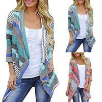 Womens Casual Geometric Print Long Sleeve Oversized Outerwear Loose Cardigan
