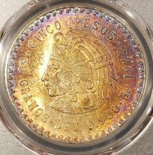 ☆ 1948 MO MEXICO SILVER 5 PESOS S5P CUAUHTEMOC NGC MS 65 GEM, RAINBOW TONED!!! ☆