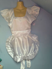 Victorian sissy maid tv tablier adulte satin blanc pinny maid nouveau tablier alice cd