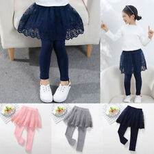 Kids Girls Cotton Dresses Leggings Cute Lace Princess Skirt-pants Slim Skirts
