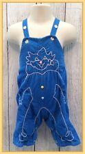 🔴 70's Vintage Toddler Boys Blue Corduroy Stitched Clown Bib Overalls 6-12M ?