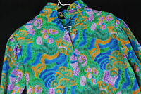 Vintage 90s Nicola Polyester Floral Geometric Blouse Shirt WOmens Bright Bold
