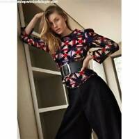 $850 New Isabel Marant Tuline Ruched Shoulder Velvet Printed Blouse Top S