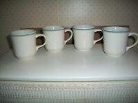 4 VTG Buffalo China Restaurant Ware White w/DBL BLUE StripeS Coffee/Tea Mugs