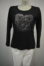 Gerry Weber Damen Shirt Langarmshirt Gr. M/L Schwarz mit Herzmotiv Stretch