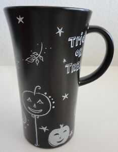 Starbucks Coffee Halloween Cup Black Trick or Treat 14 oz Tea Mug 2007 Pumpkins